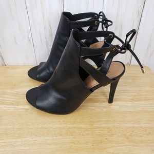 Brash Open Toe Tie Back Heels